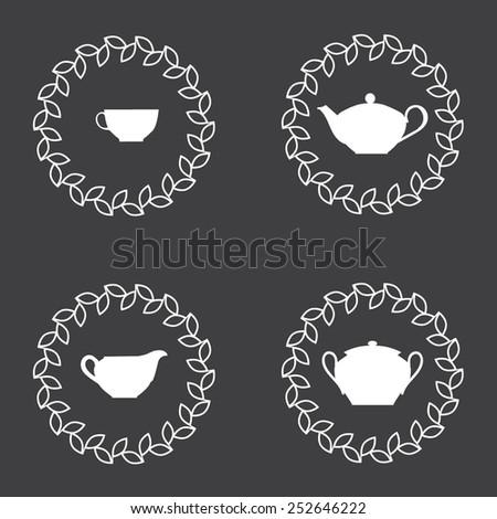 Tea tableware white silhouettes - stock vector