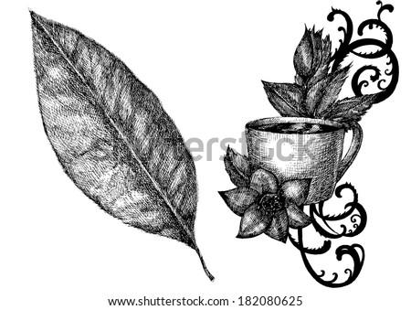 Tea Tea Escape Tea Leaves Coffee Stock Vector (Royalty Free ...