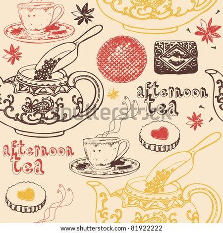 tea time background - stock vector