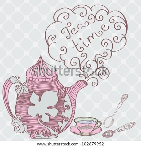 Tea time background,vector illustration - stock vector
