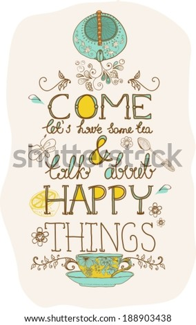 tea time background with text, teapot and cup, VECTOR