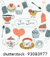 Tea time card - stock vector