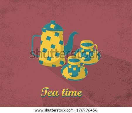 Tea time card. Template for design textile, greeting cards, wrapping paper, packages, backgrounds. Vintage vector illustration. - stock vector