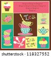 tea time card. vector illustration - stock vector