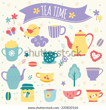 tea time clip art  - stock vector