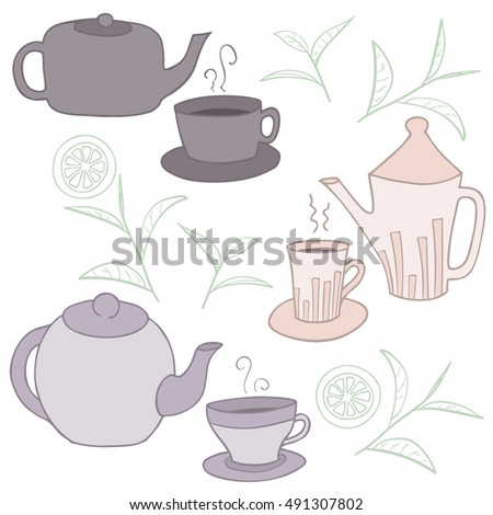 Tea time collection. Vector doodle set with teapots and cup. Vector illustration.