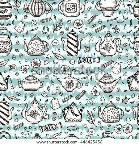 Tea Time. Crockery and sweets food. Grunge striped background with kettles. Hand Drawn Doodle Different Teapots and additives for tea Vector Seamless pattern.  - stock vector