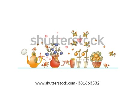 Tea time. Cute shelf with teapot, teacups, flowers and birds on white background. Beautiful colorful hand drawn vector illustration. - stock vector