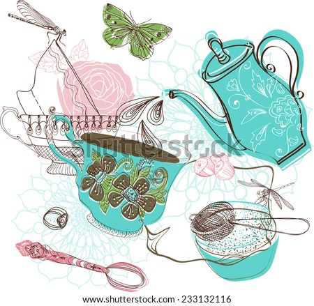 Tea time illustration with flowers, beautiful background for your design - stock vector