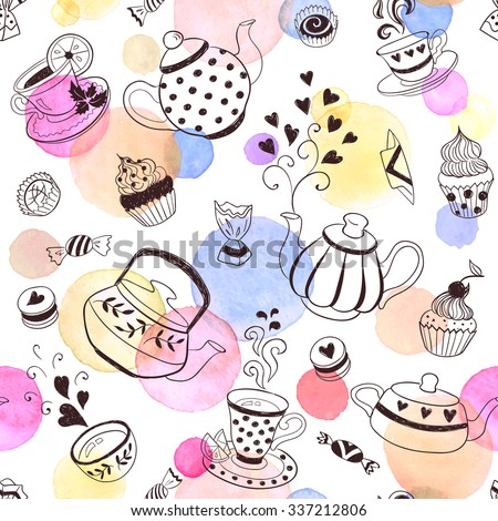 Tea time seamless pattern. Tea party background design. Hand drawn doodle illustration with teapots, cups and sweets. - stock vector
