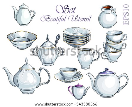 Tea Time Set. Vector hand drawn illustration. Collection utensil. - stock vector