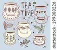 Tea time still life, set vector illustration  - stock vector