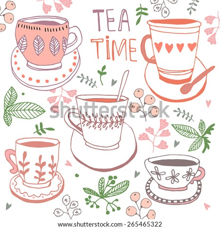 Tea time still life, set vector illustration - stock vector