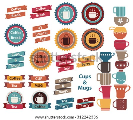 Tea time, Tea party, Coffee break slogans on badge and ribbons. Cups and mugs set in flat style. Vintage labels, stickers and bags in blue, red, brown colors. - stock vector