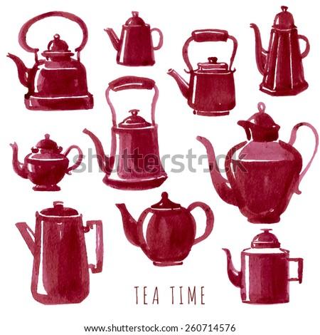 Tea time. Vector  hand drawn set . Watercolour tea-pots - stock vector