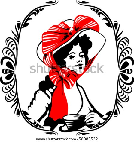 tea-time woman silhouette with ornament. EPS8. Frame and silhouette put on different layer. - stock vector