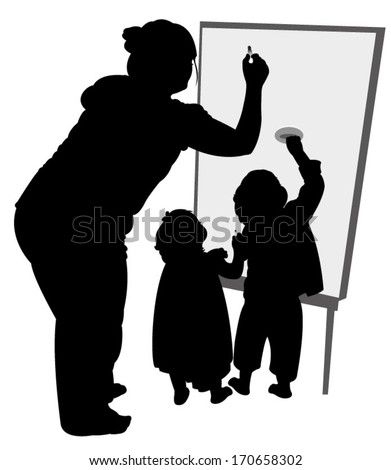 teacher and children writing on board - stock vector
