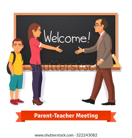Teacher and parent meeting in classroom. Boy kid student with mother in school. Flat style vector illustration isolated on white background. - stock vector