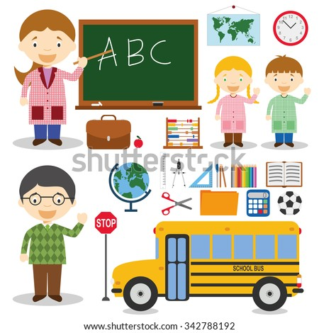 Teacher and school characters vector illustration, with educational icons and objects set (scissors, compass, ruler, chalk, blackboard, globe, pencil and colors). - stock vector