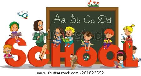 Teacher and school kids. Vector illustration of a cheerful teacher with school kids. - stock vector