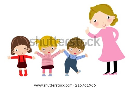 Teacher and students - stock vector