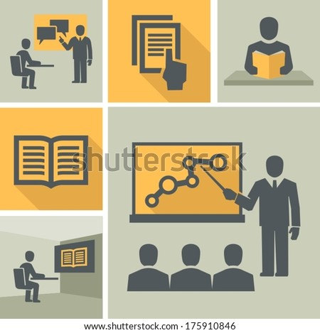 Teacher and students in classroom - stock vector