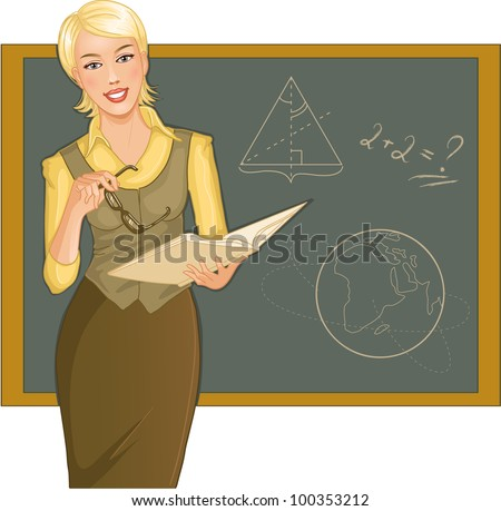 Teacher at blackboard. Vector image of a young woman teacher with book and eyeglasses in hands, on the background with blackboard - stock vector
