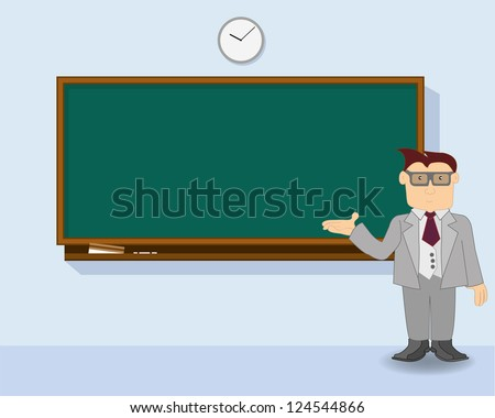 teacher at chalkboard vector - stock vector