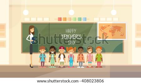 Teacher Day Holiday Class School Children Group Flat Vector Illustration - stock vector