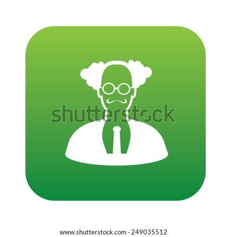 Teacher design on green flat button, clean vector - stock vector