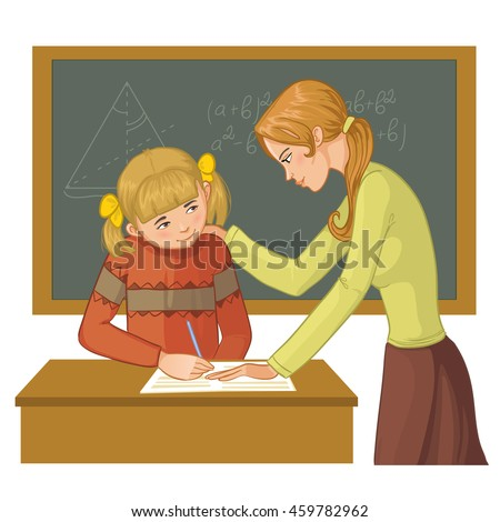 Teacher helps a girl in classroom to resolve tasks during lesson, vector image, eps10