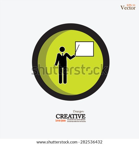 teacher icon.Presentation sign icon. Man standing with pointer.vector illustration.
