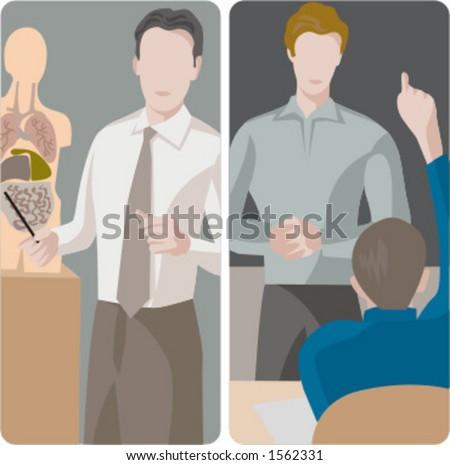 Teacher illustrations series.  1) A biology teacher teaching a class. 2) A general classes teacher teaching a class in a classroom. - stock vector