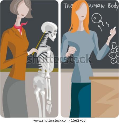 Teacher illustrations series. 1) Biology teacher examining a skeleton. 2) Biology teacher teaching a propagation lesson in a classroom. - stock vector