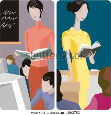Teacher illustrations series.  1) Computer teacher teaching a lesson in a computer room. 2) General classes teacher teaching a class in a classroom. - stock vector