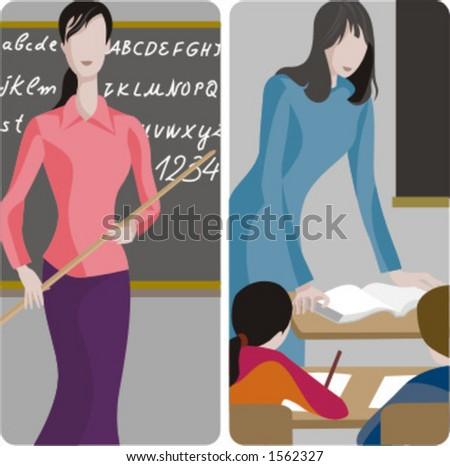 Teacher illustrations series.  1) Elemenary teacher teaching the alphabet. 2) Elementary teacher teaching a class in a classroom. - stock vector