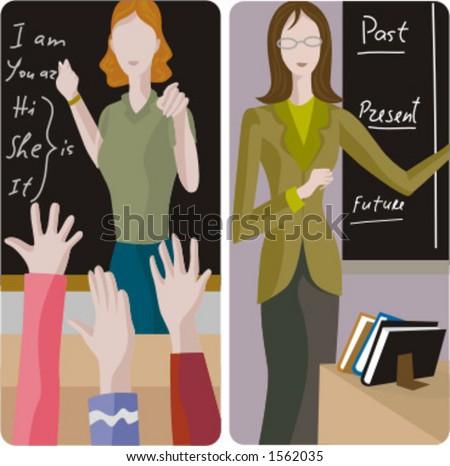 Teacher illustrations series.  1) Elementary class teacher examining a students. 2) English teacher teaching a grammar in a classroom. - stock vector