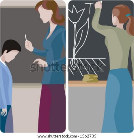 Teacher illustrations series. 1) Elementary teacher examines a student boy. 2) Biology teacher writing on a blackboard in a classroom. - stock vector