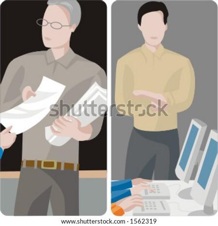 Teacher illustrations series.  1) General class teacher collecting tests. 2) Computer teacher in a computer room. - stock vector