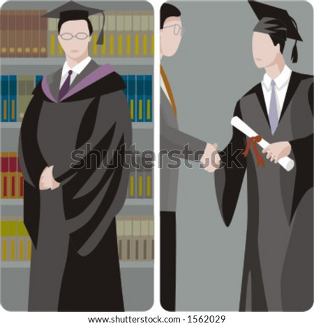 Teacher illustrations series.  1) Graduating student. 2) Graduating student shakes the teachers hand and holding a diploma. - stock vector