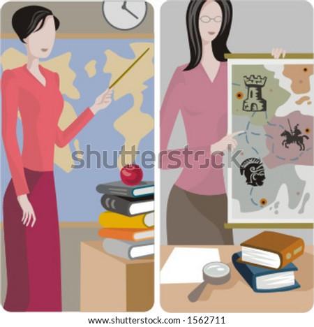 Teacher illustrations series. 1) History \ Geography teacher teaching a class in a classroom. 2) History teacher teaching a class in a classroom. - stock vector