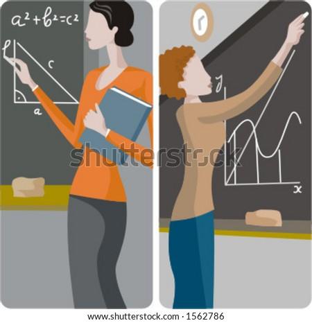 Teacher illustrations series.  1) Math teacher solving a mathematical problem on a blackboard. 2) Math teacher writing on a blackboard. - stock vector