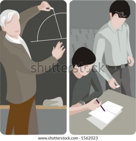 Teacher illustrations series.  1) Math teacher writing on a blackboard in a classroom. 2) General classes school teacher looking at student work in a classroom. - stock vector