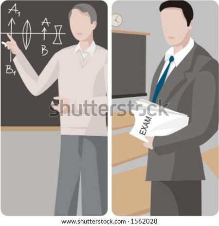 Teacher illustrations series.  1) Physics teacher teaching a class in a classroom. 2) General classes teacher holding exams in a classroom. - stock vector