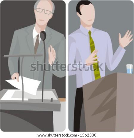 Teacher illustrations series.  1) Professor teaching a class. 2) Professor teaching a class. - stock vector