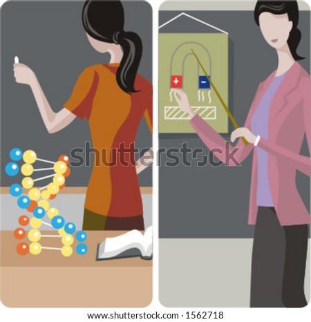 Teacher illustrations series. 1) Teacher teaching a class and writing on a blackboard in a classroom. 2) Physics teacher teaching a class in a classroom. - stock vector