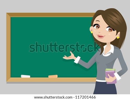 Teacher in front of  chalkboard with copy space for your text - stock vector