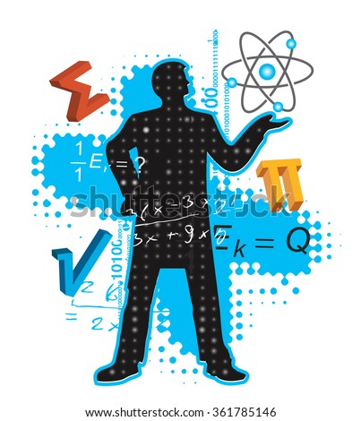 Teacher of Maths and Physics. Mathematics and physics teacher stylized silhouette with mathematics and physics symbols. Vector available.  - stock vector
