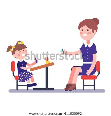 Teacher or home tutor studying with her girl pupil sitting on school desk. Modern flat vector illustration clipart. - stock vector