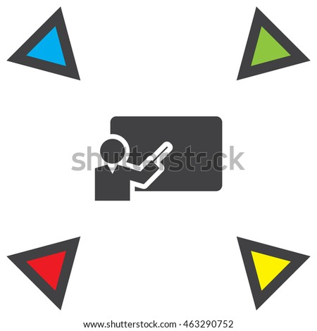 Teacher presenting vector icon. College and university education sign. School classroom symbol